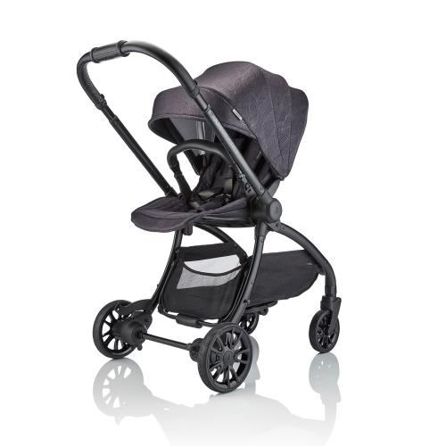 J-spirit Stroller and carrycot 2 in 1 bundle, Graphite black, H108 x W54 x L72cm, Black