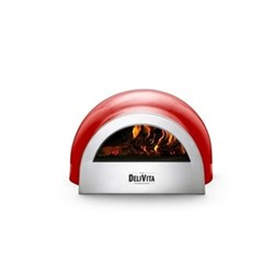 Wood-fired outdoor oven, H35 x W59 x D65cm, chilli red