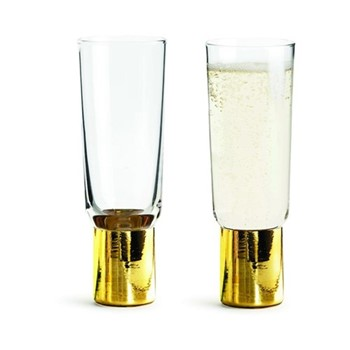 Club Gold Pair of champagne glasses, H16.5cm - 20cl, clear