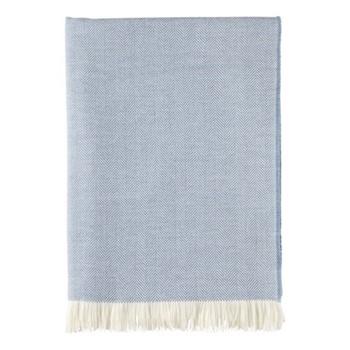 Herringbone Merino woven throw, 190 x 140cm, cornflower & white