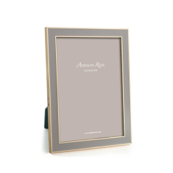 """Enamel Range Photograph frame, 5 x 7"""" with 15mm border, Taupe With Gold Plate"""