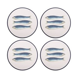 Harlequin Blue Set of 4 round tablemats, 25cm, blue/white