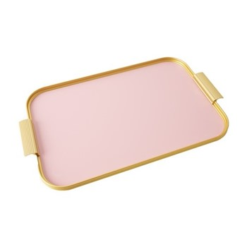 Ribbed serving tray, L46 x W30cm, rose pink