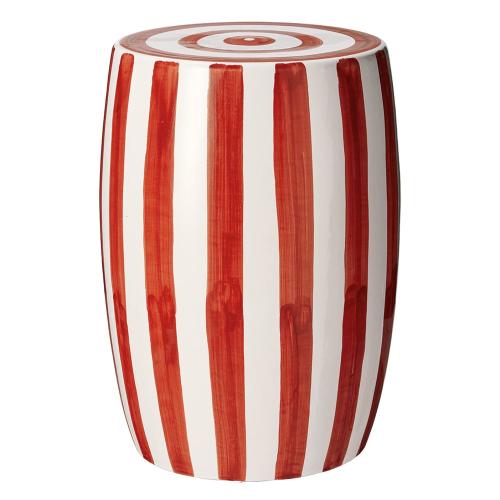 Rander Ceramic stool, D32 x H46cm, Red/White