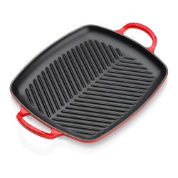 Signature Cast Iron Deep square grill, 30cm, Cerise