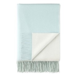 Plain Reversible double face throw, 190 x 140cm, spearmint / white