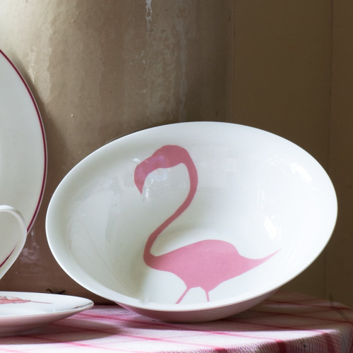 Flamingo Pasta/Salad bowl, H6.5 x Dia23.5cm