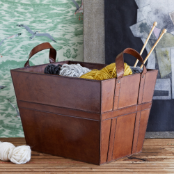2 handled log/blanket/magazine basket, L57 x W42 x H27cm, Tan Leather