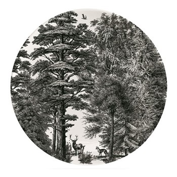 Enchanted Forest Plate, Dia25.5cm, black/white