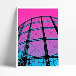 Hackney Gasworks Framed print, L29 x H42cm, multi