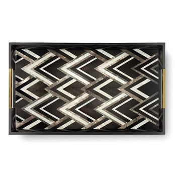 Deco Noir Large rectangular tray, 60 x 35 x 5cm, black/grey with natural white shells