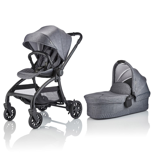 J-spirit Stroller and carrycot 2 in 1 bundle, Frost grey, H108 x W54 x L72cm, Grey