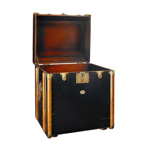 Stateroom Trunk, H56 x W53 x L45cm, Black/Honey Distressed Maple/Pine