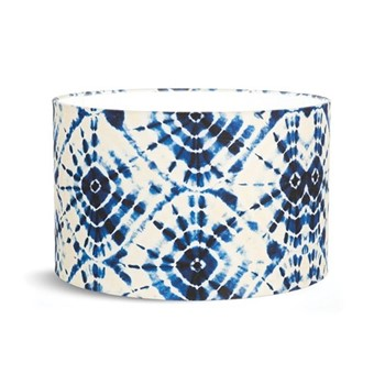 Shibori Swirls Small drum lampshade with white fabric lining, H22 x L35 x W35cm, white & blue
