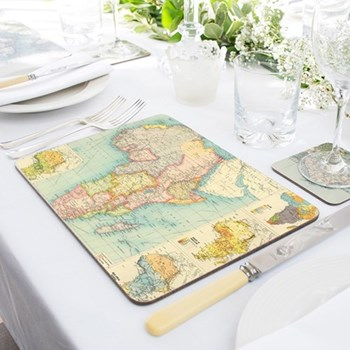 Set of 4 personalised map placemats 30 x 21cm
