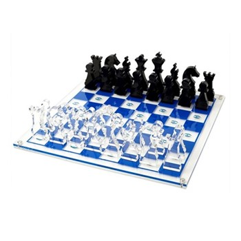 Eye Chess board, W35.6 x D35.6 x H2cm, clear/blue