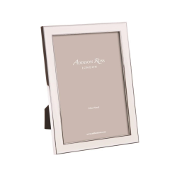 """Enamel Range Photograph frame, 5 x 7"""" with 15mm border, White With Silver Plate"""