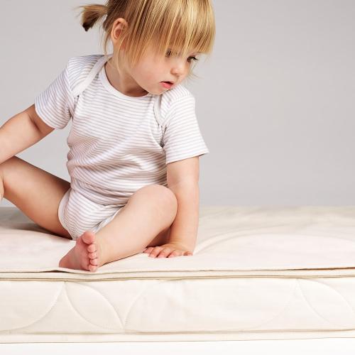 Organic Cot Bed Mattress protector, W70 x L140cm, Natural