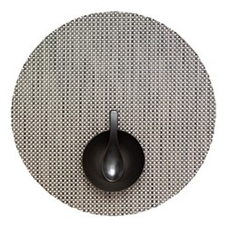 Basketweave Set of 4 round placemats, 38cm, aluminum