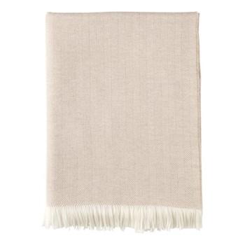 Herringbone Merino woven throw, 190 x 140cm, fawn & white