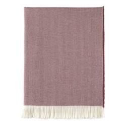 Herringbone Merino woven throw, 190 x 140cm, berry & white