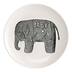Baby Elephant Plate, Dia25.5cm, black/white
