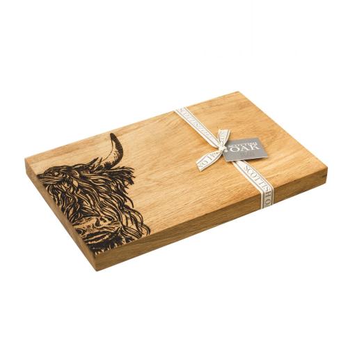 Highland Cow Serving board, 30 x 20 x 2.5cm, Engraved Illustration