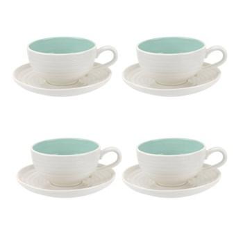 Colour Pop Set of 4 teacups and saucers, 0.20L, celadon