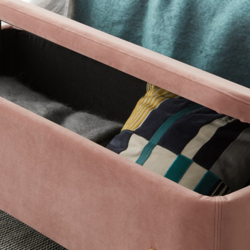 Asare Storage bench, H44 x W110 x D44cm, Blush Pink And Brass
