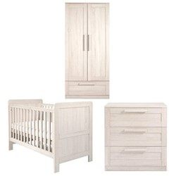 Atlas Cotbed, dresser changer and wardrobe, nimbus white