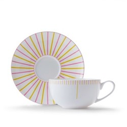 Burst Cappuccino cup and saucer, pink/yellow