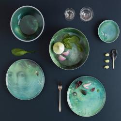 Yuan Set of 4 stackable melamine bowls and 4 plates, D25 x H30cm, Black
