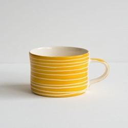 Sgrafitto Stripe Set of 6 mugs, H7 x W10.5cm, turmeric