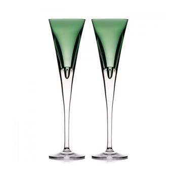 W Collection Pair of flute glasses, green
