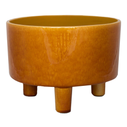 Pisa Bowl planter, H14 x W19 x D19cm, Mustard