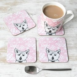 Westie Set of 4 coasters, 11 x 11cm