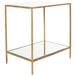 Triomphe Side table, L40 x W60 x H62cm, antique mirrored glass and bronze frame