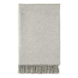 Plain Cashmere woven bed throw, 230 x 150cm, silver