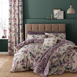 Painted Floral Double duvet set, 200 x 200cm, plum