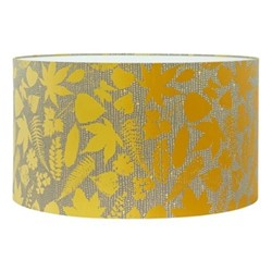 Falling Leaves Extra large drum lampshade, W45 x H25cm, storm/turmeric ombre