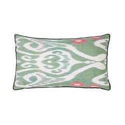 Ikat Cushion, 60 x 40cm, Green/Pink