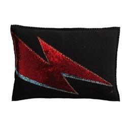 Ziggy Glam Rock Cushion, 48 x 35cm, black