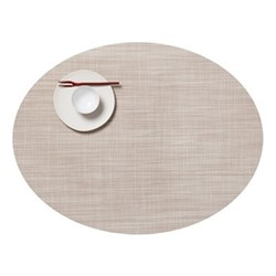 Mini Basketweave Set of 4 oval placemats, 36 x 49cm, parchment
