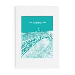 Dublin Landmark Collection - Ha'Penny Bridge Framed print, A4 size, green/white