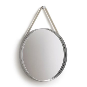 Strap Small wall mounted mirror, D50cm, grey