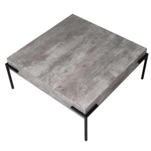 Coffee table, H36 x W83 x D83cm, Stone/Black