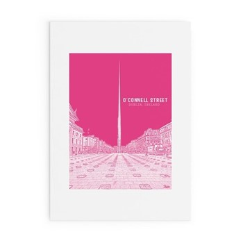 Dublin Landmark Collection - O'Connell Street Framed print, A3 size, pink/white