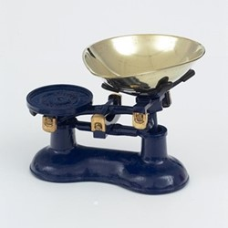 Traditional kitchen scales, navy blue cast iron with brass bowl