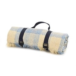 Keith Check Recycled picnic rug, L120 x W150cm, blue and silver