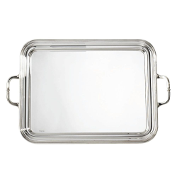 Contour Rectangular tray with handles, 29 x 21cm, Silver Plate